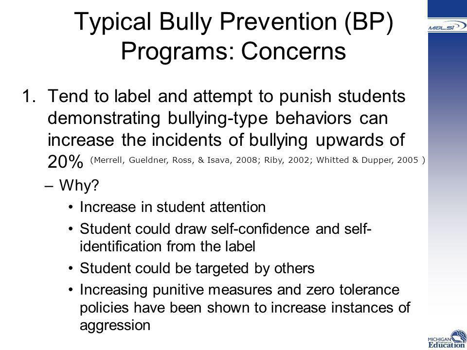 Typical Bully Prevention (BP) Programs: Concerns