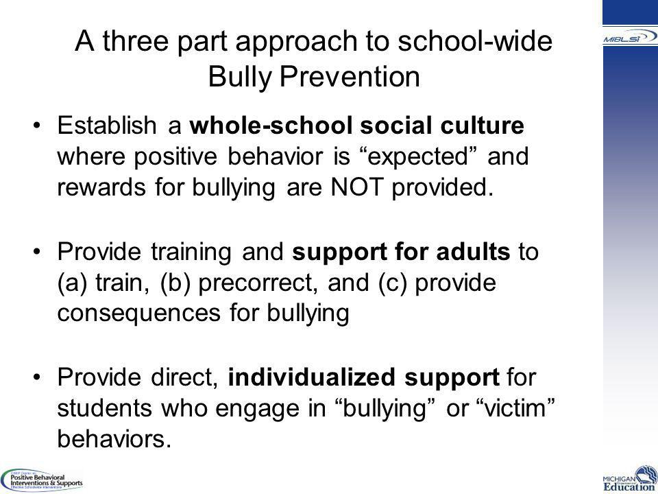 A three part approach to school-wide Bully Prevention