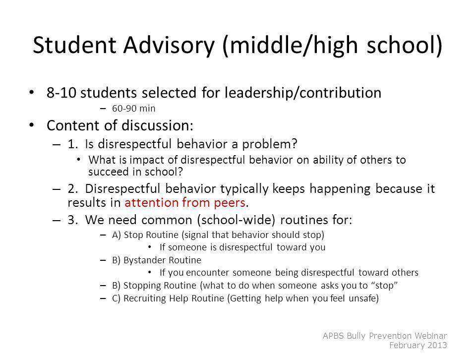 Student Advisory (middle/high school)
