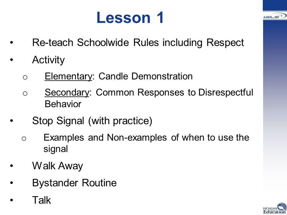 Lesson 1 Re-teach Schoolwide Rules including Respect Activity