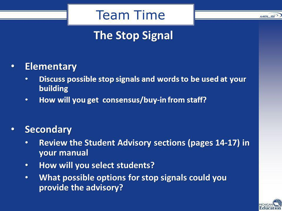 Team Time The Stop Signal Elementary Secondary