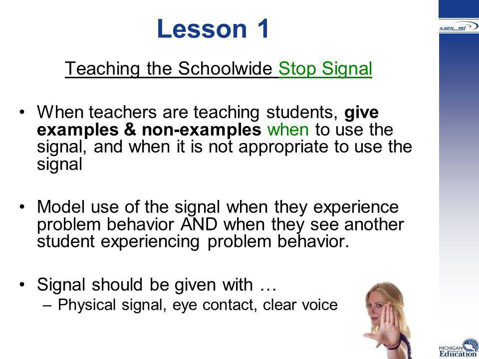 Teaching the Schoolwide Stop Signal