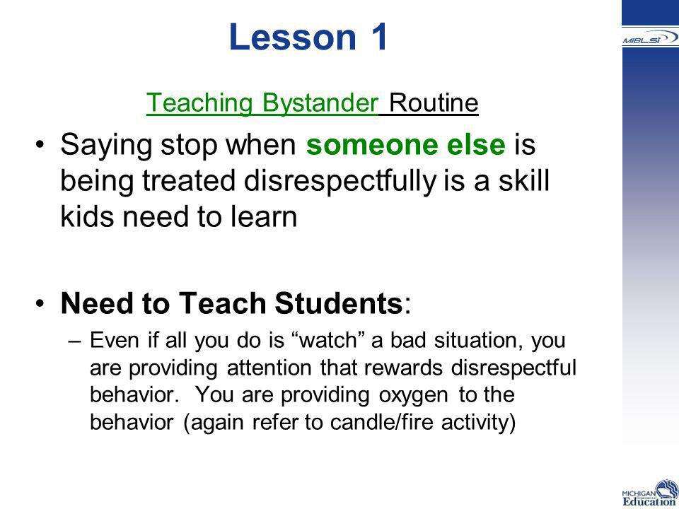 Teaching Bystander Routine