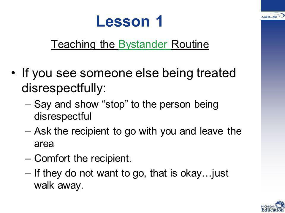 Teaching the Bystander Routine