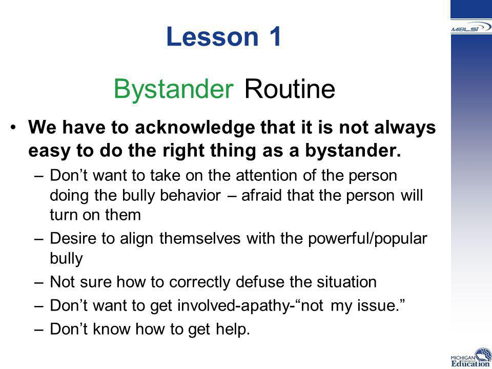 Lesson 1 Bystander Routine