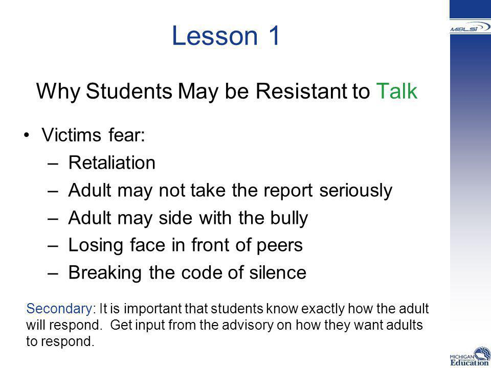 Lesson 1 Why Students May be Resistant to Talk
