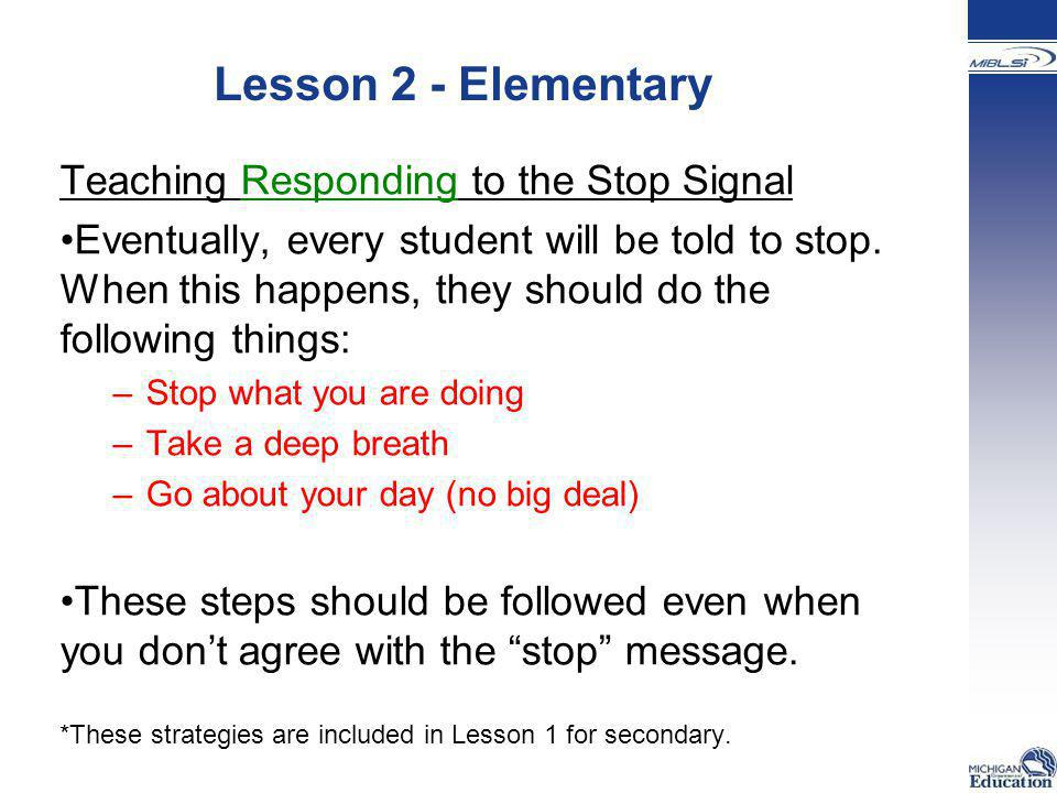 Lesson 2 - Elementary Teaching Responding to the Stop Signal