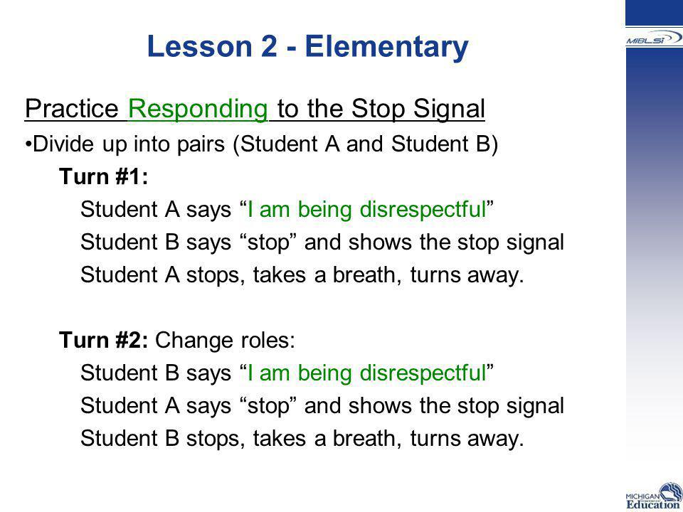 Lesson 2 - Elementary Practice Responding to the Stop Signal