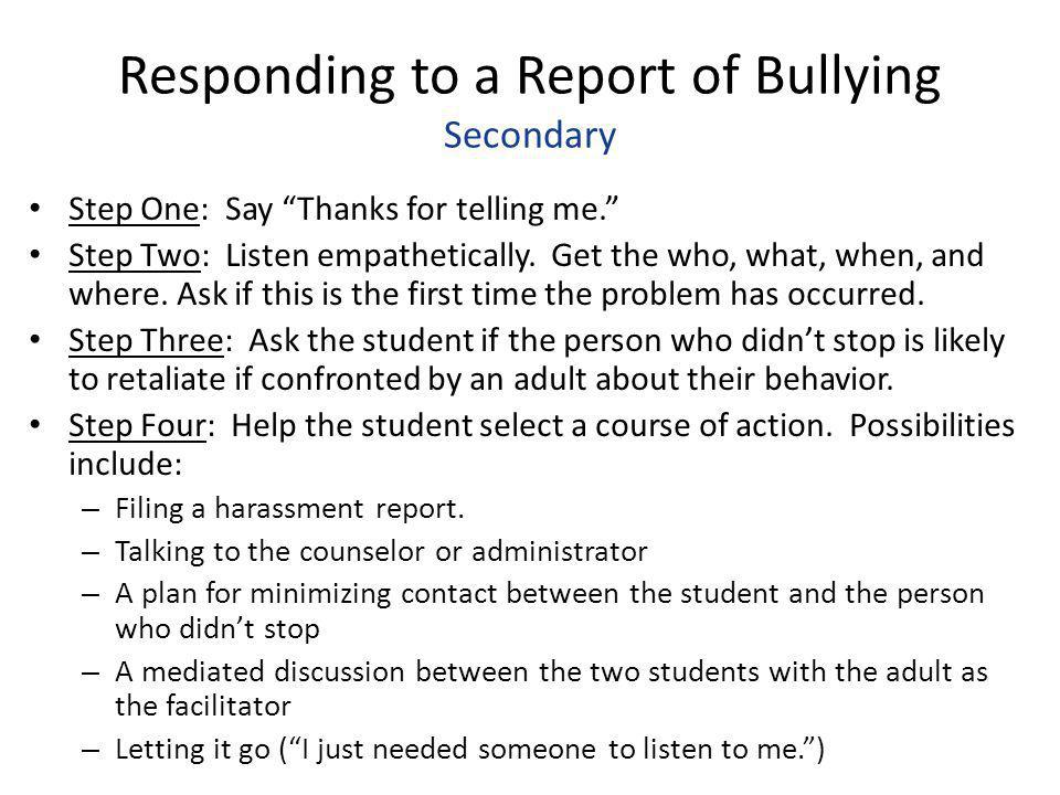 Responding to a Report of Bullying Secondary