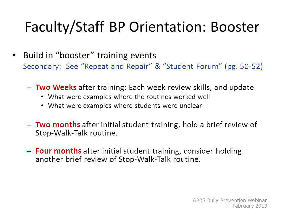 Faculty/Staff BP Orientation: Booster