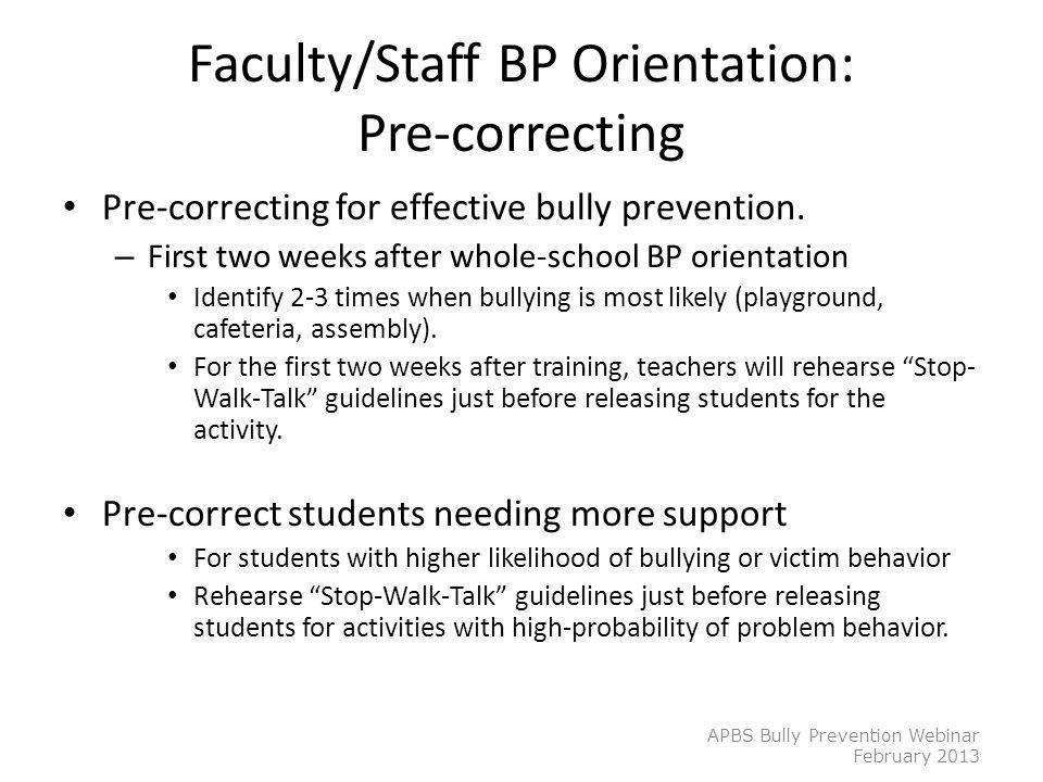 Faculty/Staff BP Orientation: Pre-correcting