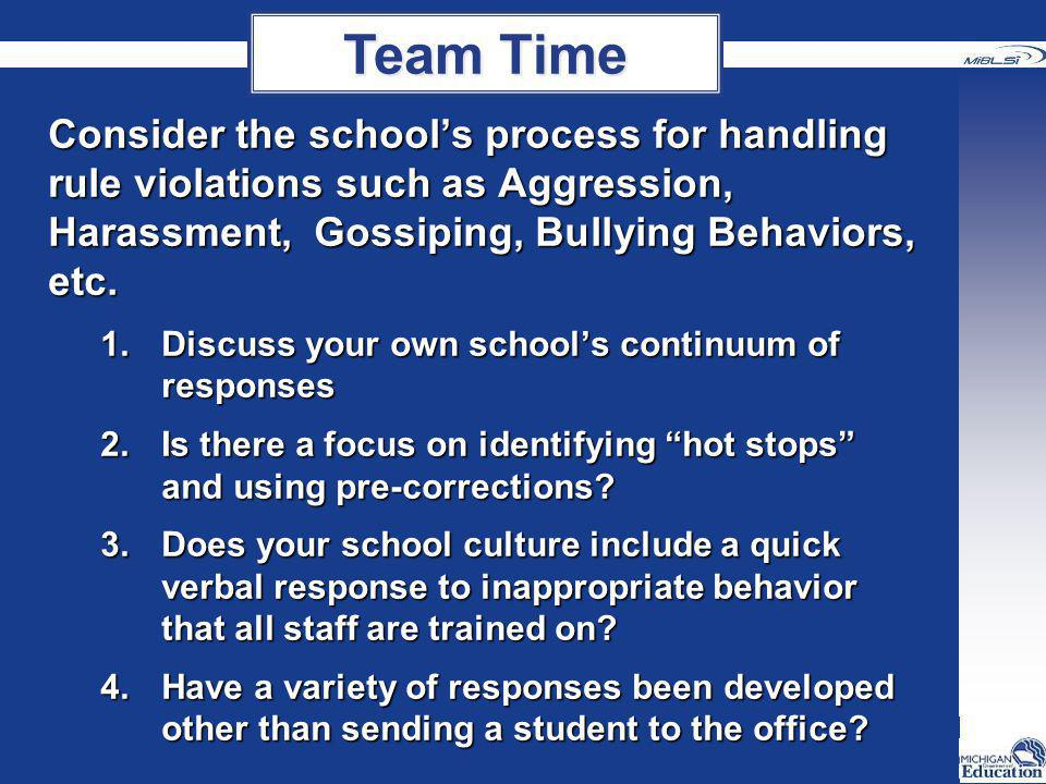 Team Time Consider the school's process for handling rule violations such as Aggression, Harassment, Gossiping, Bullying Behaviors, etc.