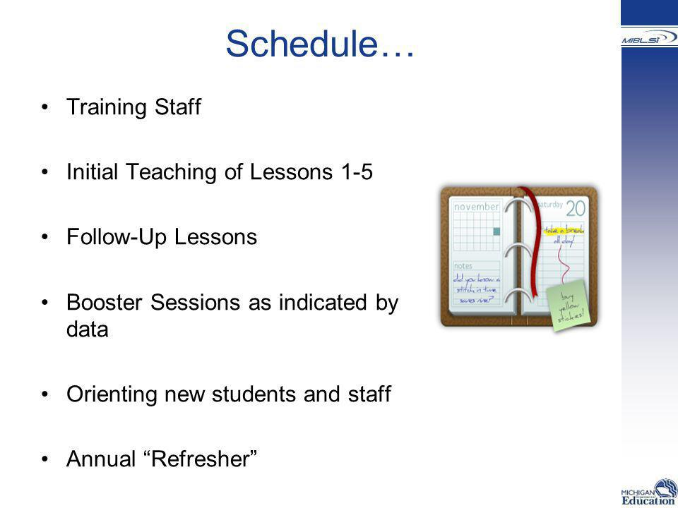 Schedule… Training Staff Initial Teaching of Lessons 1-5