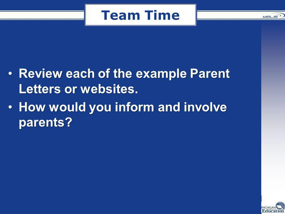 Team Time Review each of the example Parent Letters or websites.