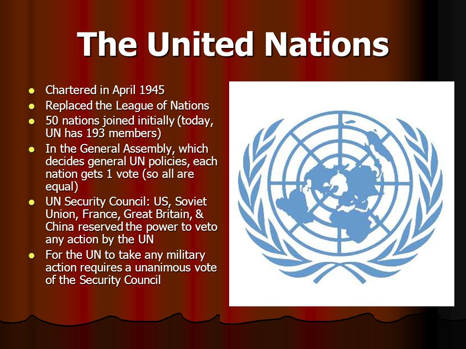 The United Nations Chartered in April 1945