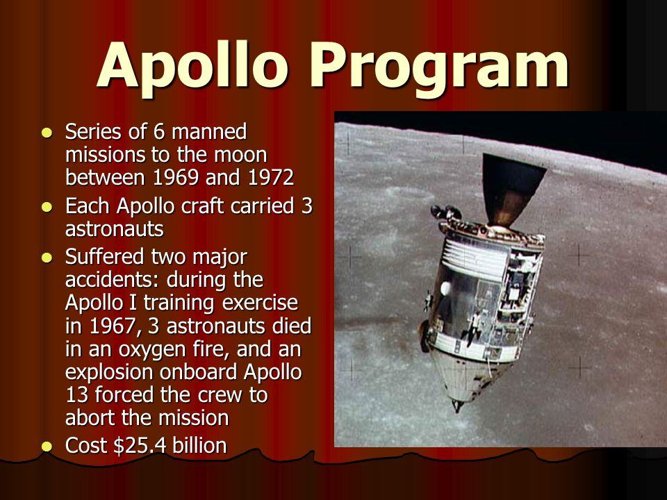 Apollo Program Series of 6 manned missions to the moon between 1969 and 1972. Each Apollo craft carried 3 astronauts.