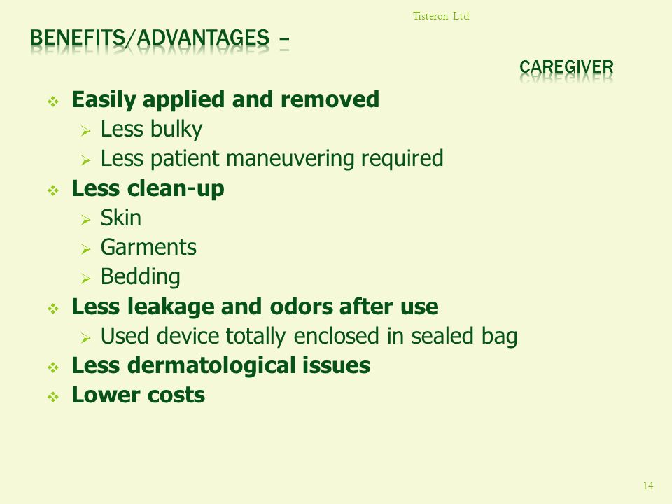 Benefits/Advantages – Caregiver
