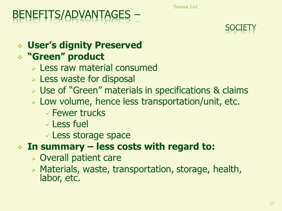 Benefits/Advantages – Society