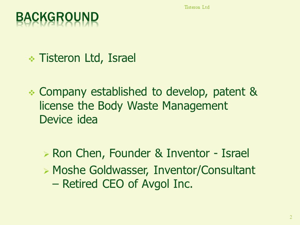 Background Tisteron Ltd, Israel