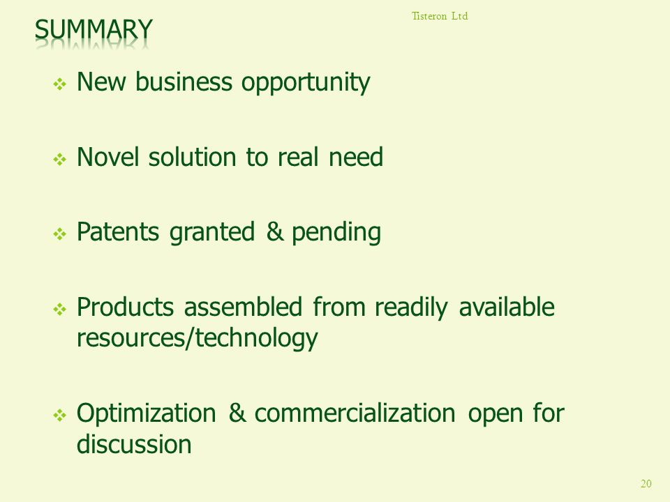 New business opportunity Novel solution to real need