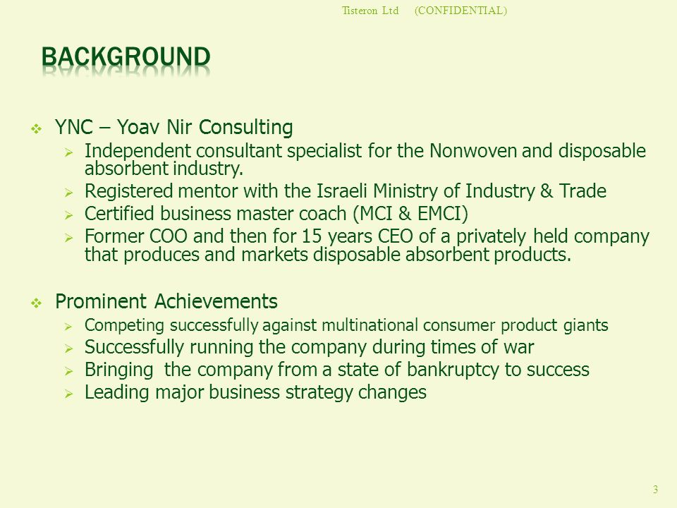 Background YNC – Yoav Nir Consulting Prominent Achievements