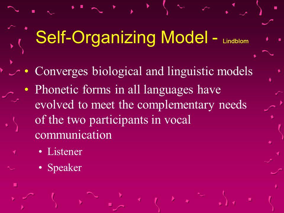 Self-Organizing Model - Lindblom
