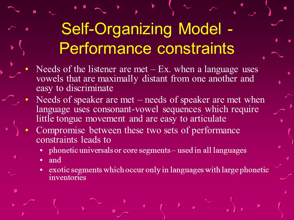 Self-Organizing Model -Performance constraints