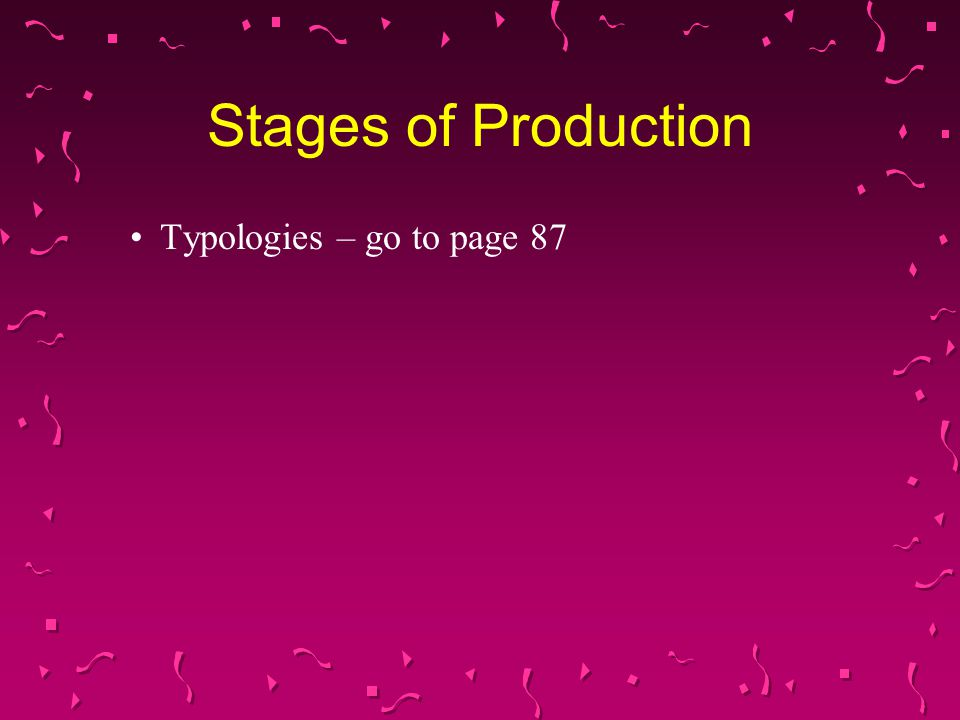 Stages of Production Typologies – go to page 87