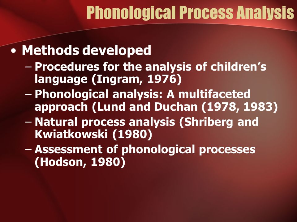 Phonological Process Analysis