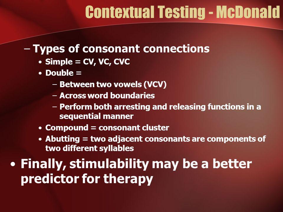 Contextual Testing - McDonald
