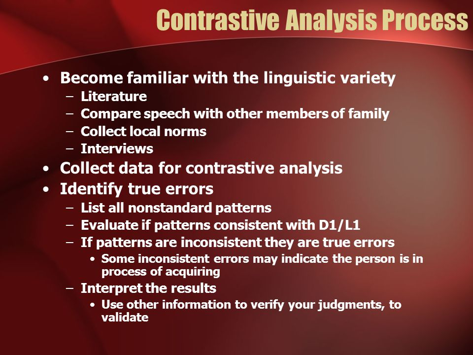 Contrastive Analysis Process