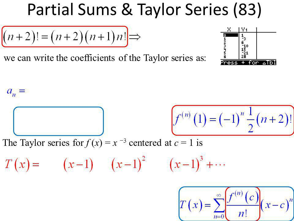 Partial Sums & Taylor Series (83)