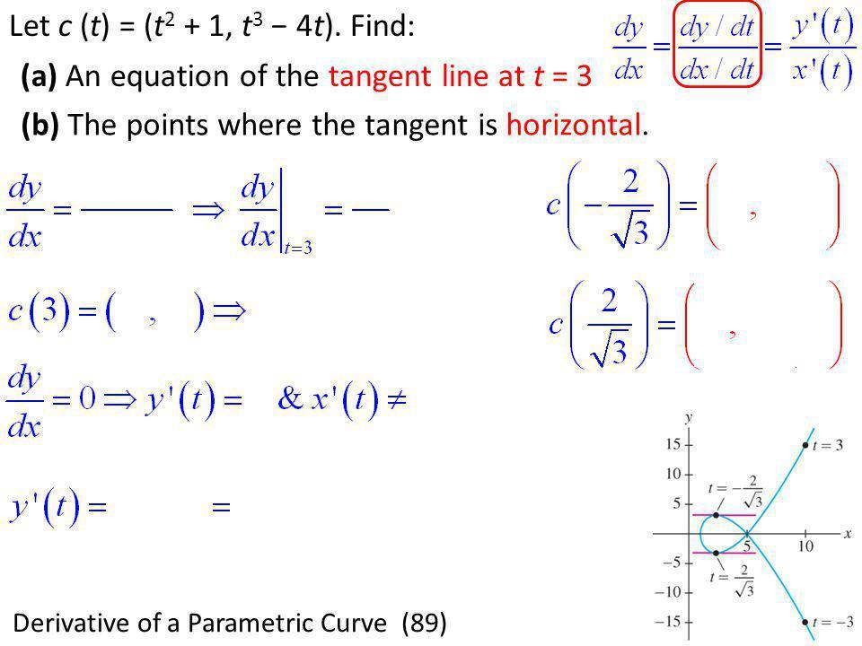 Derivative of a Parametric Curve (89)