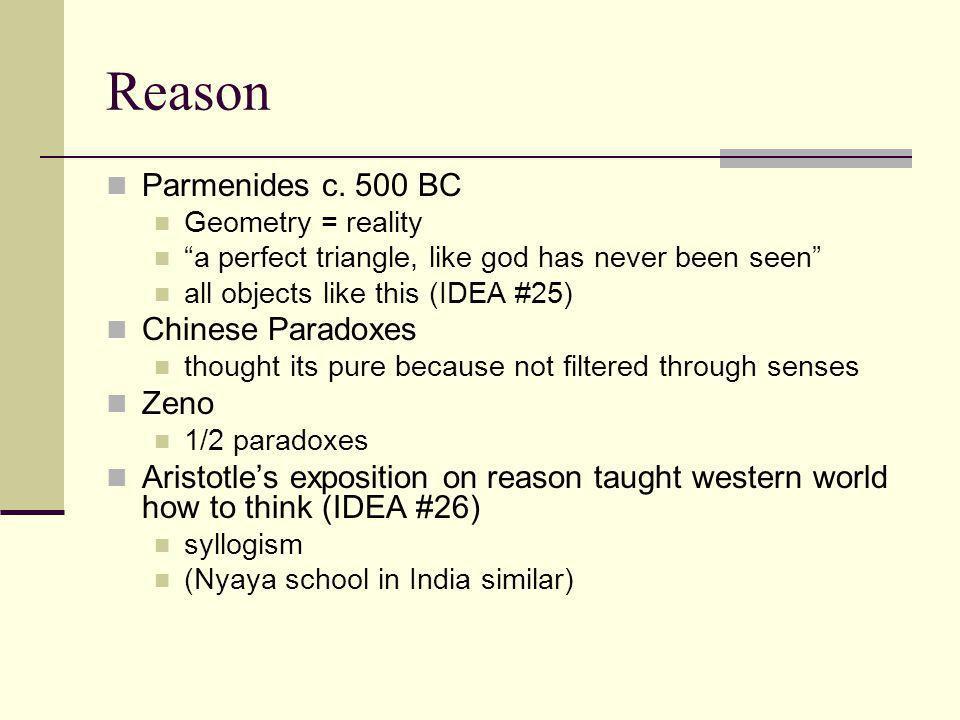 Reason Parmenides c. 500 BC Chinese Paradoxes Zeno
