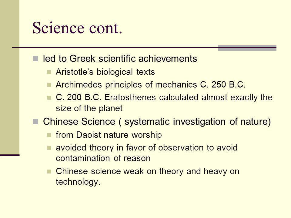 Science cont. led to Greek scientific achievements