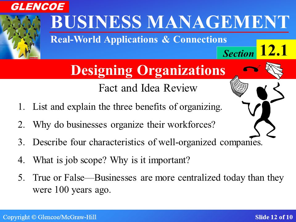 Fact and Idea Review 1. List and explain the three benefits of organizing. 2. Why do businesses organize their workforces