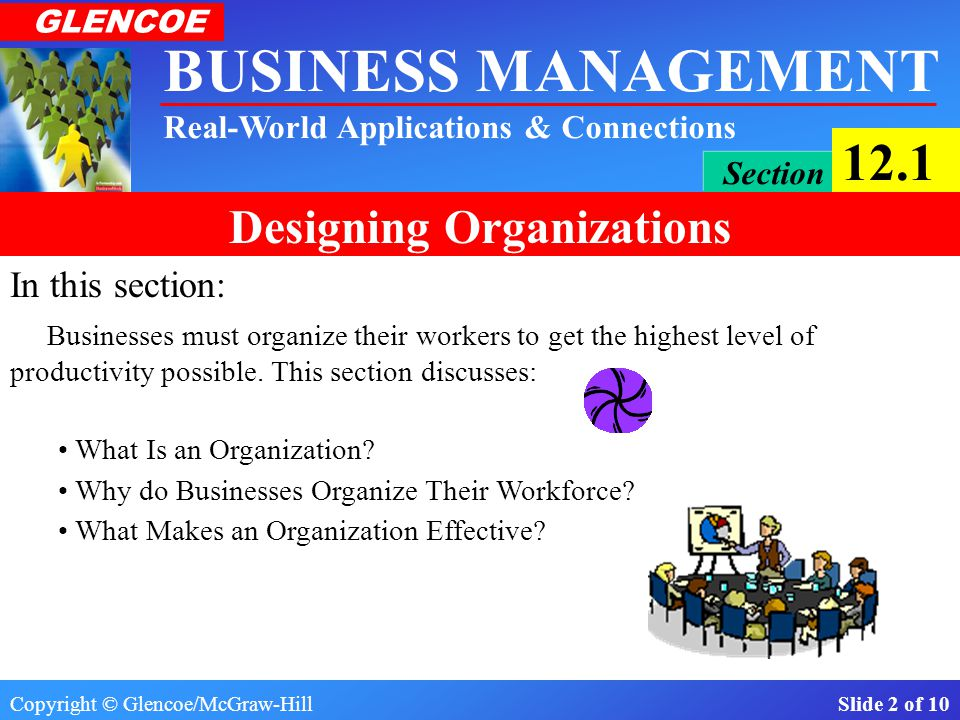 In this section: Businesses must organize their workers to get the highest level of productivity possible. This section discusses:
