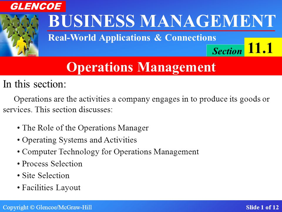 In this section: Operations are the activities a company engages in to produce its goods or services. This section discusses: