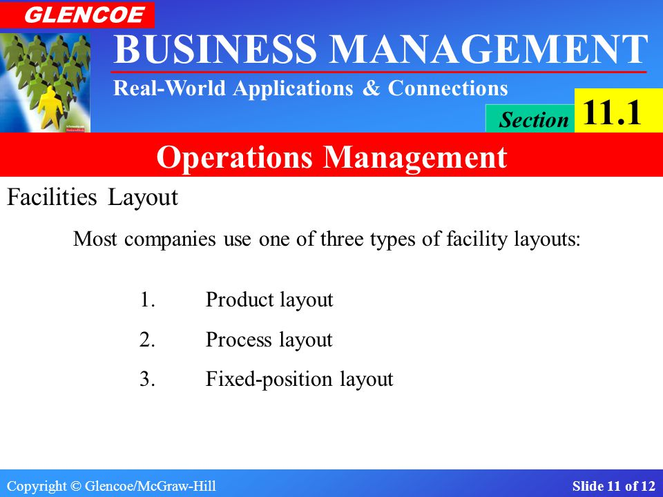 Facilities Layout Most companies use one of three types of facility layouts: 1. Product layout. 2. Process layout.