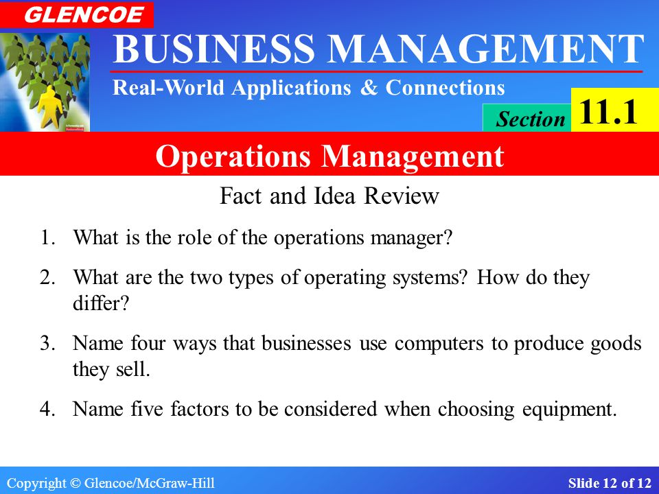 Fact and Idea Review 1. What is the role of the operations manager