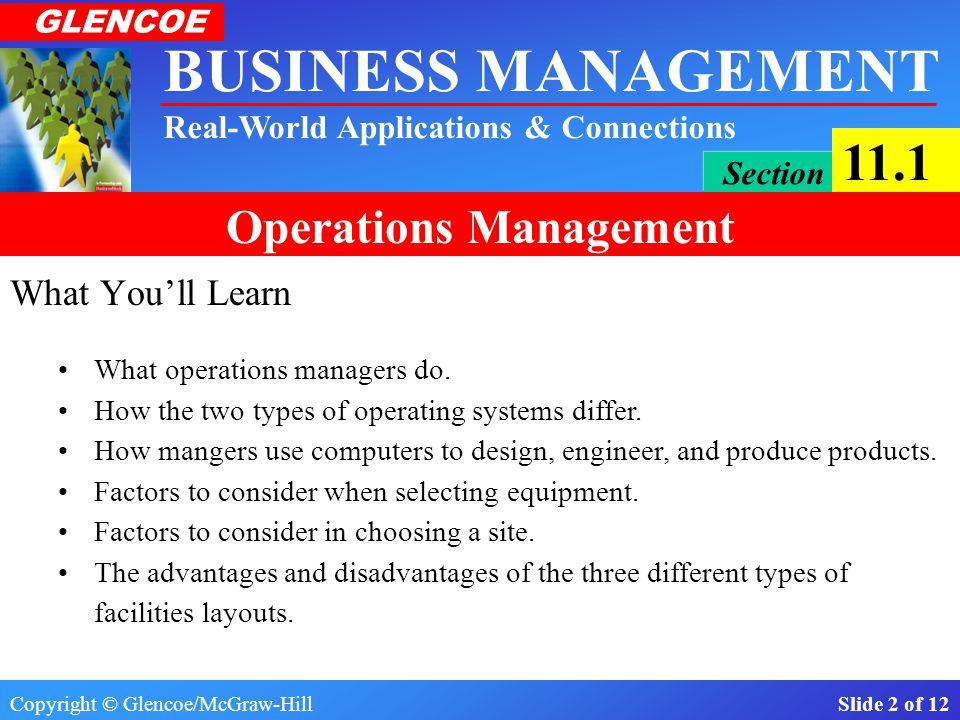 What You'll Learn What operations managers do.