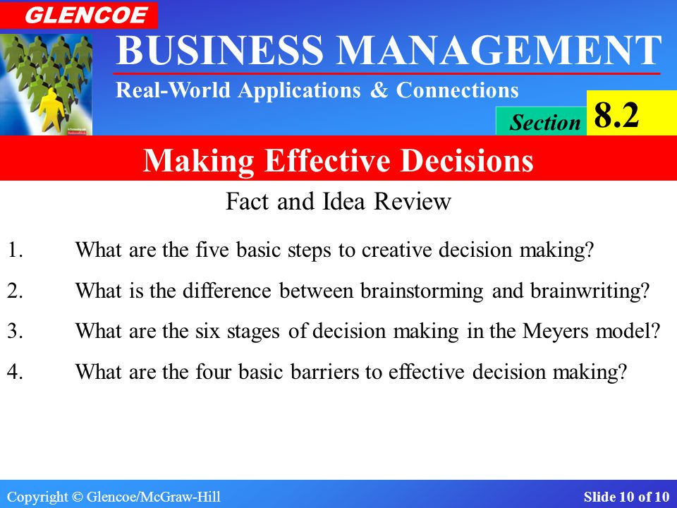 Fact and Idea Review 1. What are the five basic steps to creative decision making 2. What is the difference between brainstorming and brainwriting