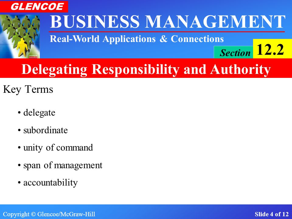 Key Terms delegate subordinate unity of command span of management