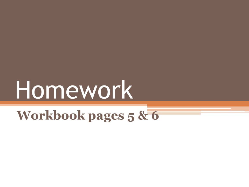 Homework Workbook pages 5 & 6