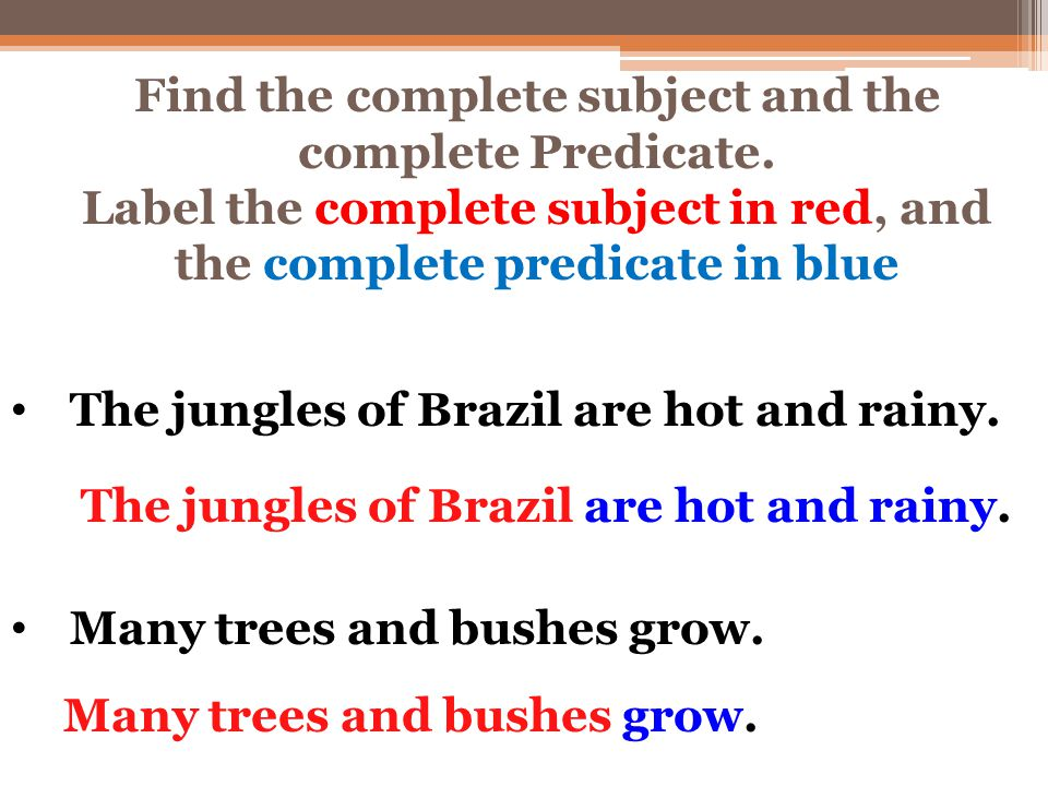 Find the complete subject and the complete Predicate