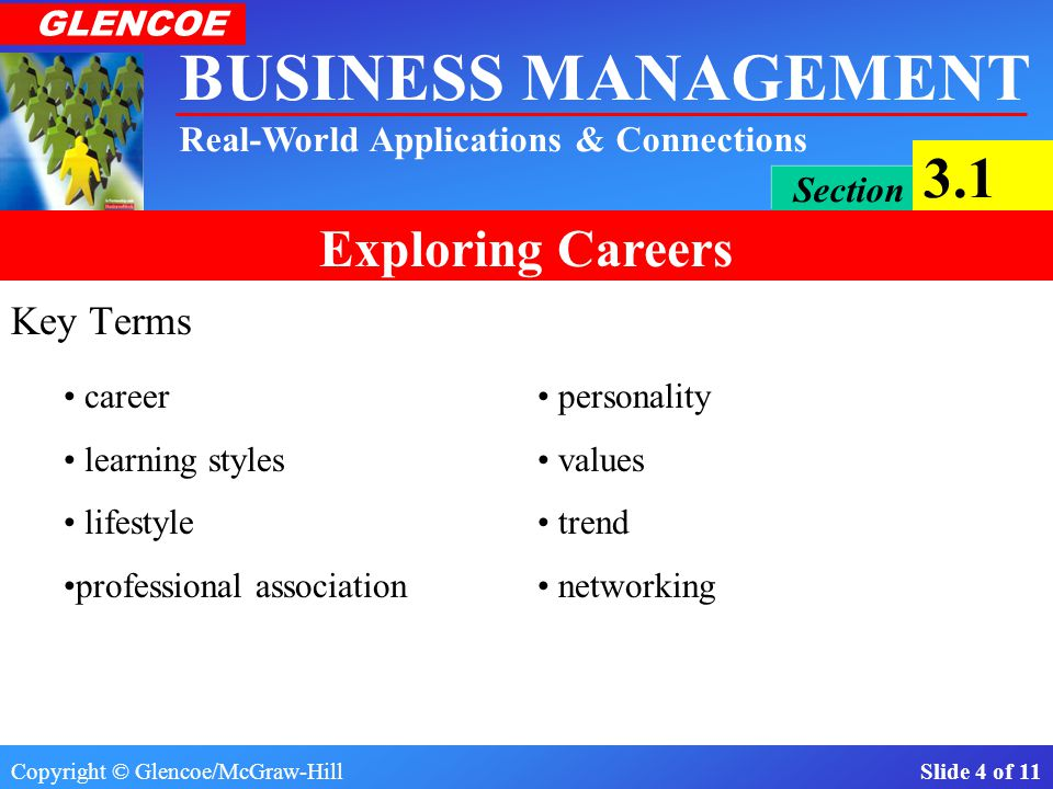 Key Terms career • personality learning styles • values