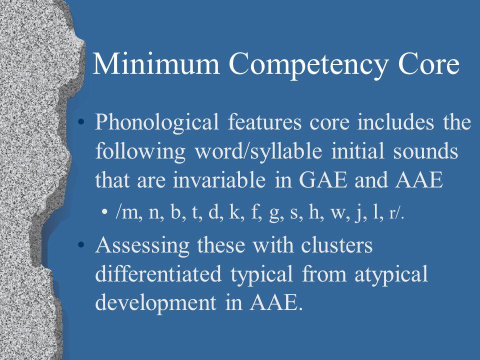 Minimum Competency Core