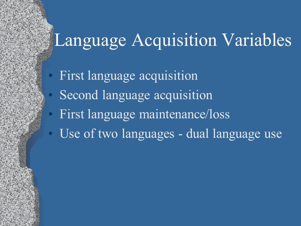 Language Acquisition Variables