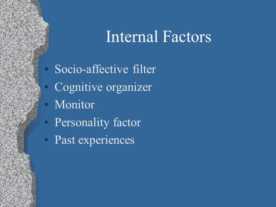 Internal Factors Socio-affective filter Cognitive organizer Monitor