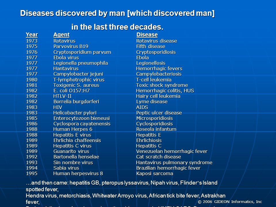 Diseases discovered by man [which discovered man]